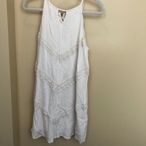 white dress with trim design